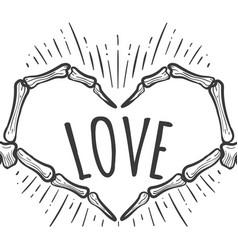 Skeleton hand love sign on white vector