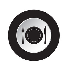 Round black white button - cutlery with plate vector