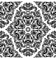 Damask seamless pattern orient background black vector