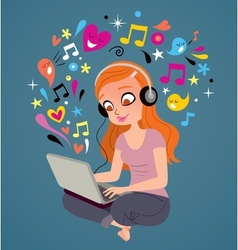 Headphones laptop girl vector