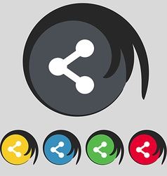 Share icon sign symbol on five colored buttons vector