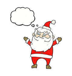 Cartoon happy santa claus with thought bubble vector
