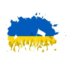 Celebrating crowd with ukrainian flag vector