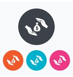 Hands insurance icons money savings signs vector