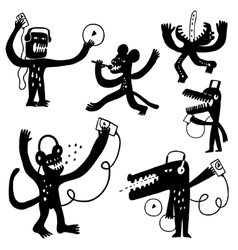 Music monsters doodles vector