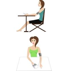 Girl measuring blood pressure vector