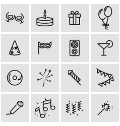 Line party icon set vector