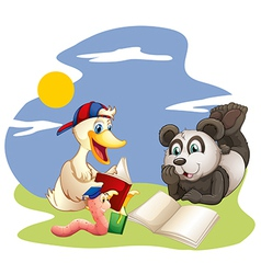 A panda a duck and a worm reading vector
