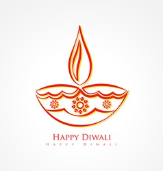 Artistic diwali diya isolated on white background vector
