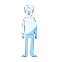 Blue silhouette shading cartoon full body man vector