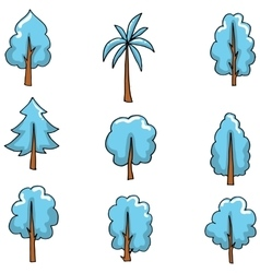 Blue tree style on doodles vector