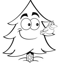 Cartoon pine tree with a bird on a branch vector