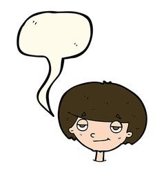 Cartoon smug looking boy with speech bubble vector
