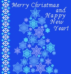 Christmas tree with snowflakes and embroidery vector image