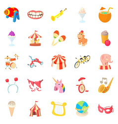 Circus performance icons set cartoon style vector