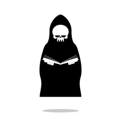 Death of reading book grim reaper in black cloak vector