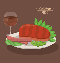 Delicious food steak and sausages with pea vector