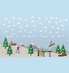 Downhill ski track in flat vector