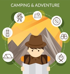 Explorer with camping icons and mountain backgroun vector