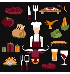 Flat design icons of steak house food elements and vector