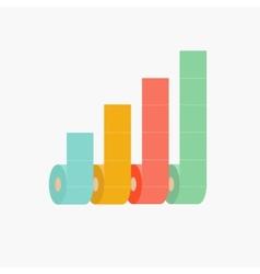 Four column toilet paper roll chart diagram dash vector