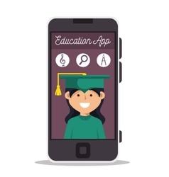 girl app education online smartphone design vector image
