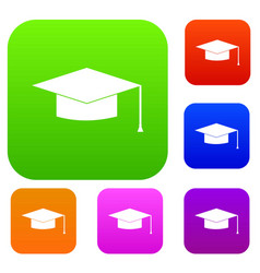 graduation cap set collection vector image vector image