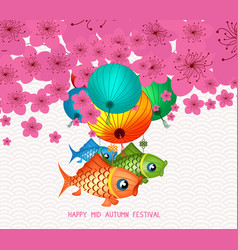Happy mid autumn festival blossom background with vector