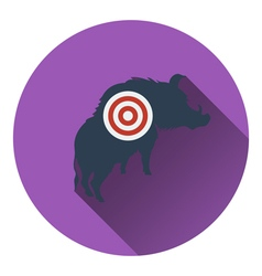 Icon of boar silhouette with target vector image vector image