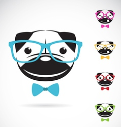 images of pug dog wearing glasses vector image vector image