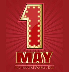 International workers day design retro neon sign vector