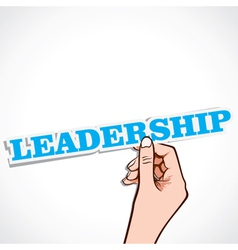 Leadership word in hand vector