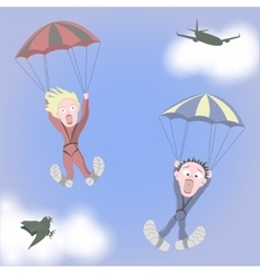 Man and woman are skydiving vector image