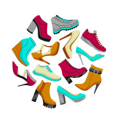 round shoes composition in cartoon style vector image