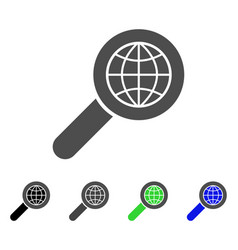 Search globe place flat icon vector