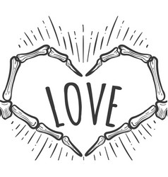 Skeleton hand love sign on white vector