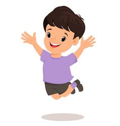 Smiling boy makes a jump pretty cartoon character vector