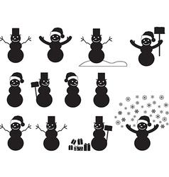 Snowman silhouettes vector