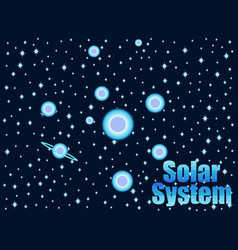 Solar system in 80s retro style space travel vector
