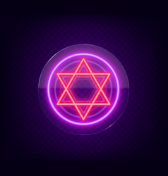 star of david neon sign the symbol of judaism vector image