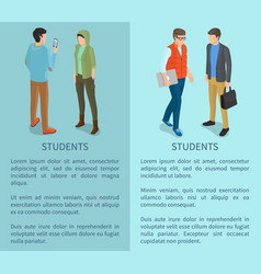 Students cartoon characters posters with man woman vector