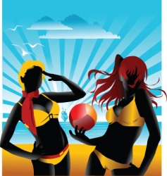 team beach volleyball vector image vector image