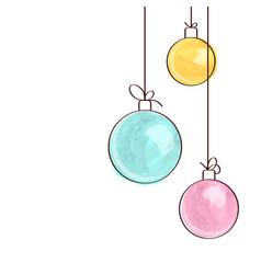 Three watercolor christmas tree ball ornaments vector