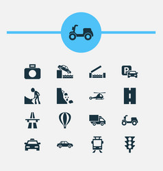 Transportation icons set with stoplight way vector