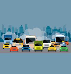 Vehicles on road with traffic jam pollution vector