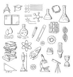 Science and education sketch symbols vector
