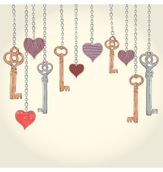 Romantic valentine invitation card with keys vector
