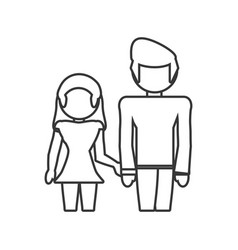 Couple loving together outline vector