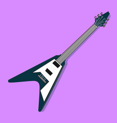 Flat electric guitar design with purple vector