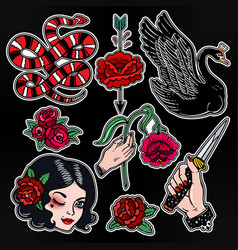 set of femme fatale classic flash style patches vector image